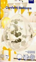 4 stk Klar til bruk Konfetti ballong - Sølv