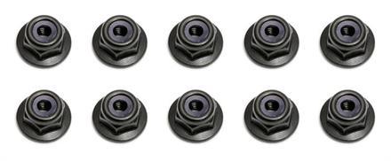 Locknuts, M3, flanged, black