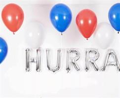 10 Stk latex ballong Blå, rødt og hvit