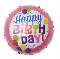 Happy Birthday rund folieballong 46 cm