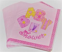 20 Stk Rosa Serviett - Baby Shower