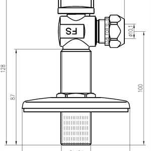Vinkelkran 1/2x3/8 -10 m/flat rosett 80mm