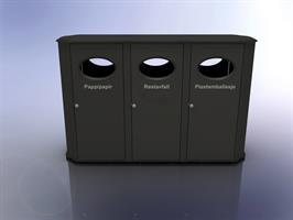 PutIn 3-kammer avfallsbeholder i stål