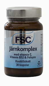 Järn Komplex, C, B12 & Folsyra.FSC