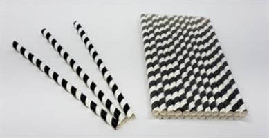 Papirsugerør svart og hvit stripete