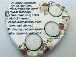 Telysholder Hjerte m/ Norsk tekst