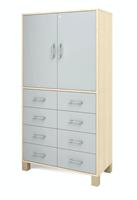 Ornö högskåp med 8 lådor & 2 dörrar med lås grå