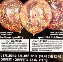 6 stk Glow in the dark konfetti ballonger