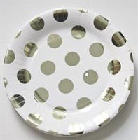 10 stk hvit tallerken med sølv prikker 18 cm