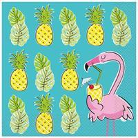Serviett - Sommer flamingo Ananas