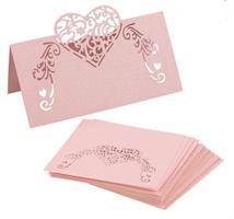 Bordkort-Hjerte Pearly Rosa