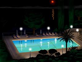 Moon by Pool