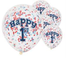 Ballonger 1 år med blå og rød konfetti