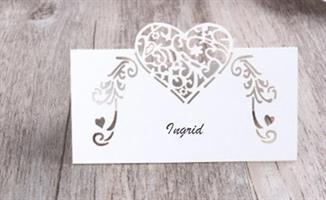 Bordkort - Hjerte Hvit