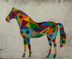 Häst 1 svart ram