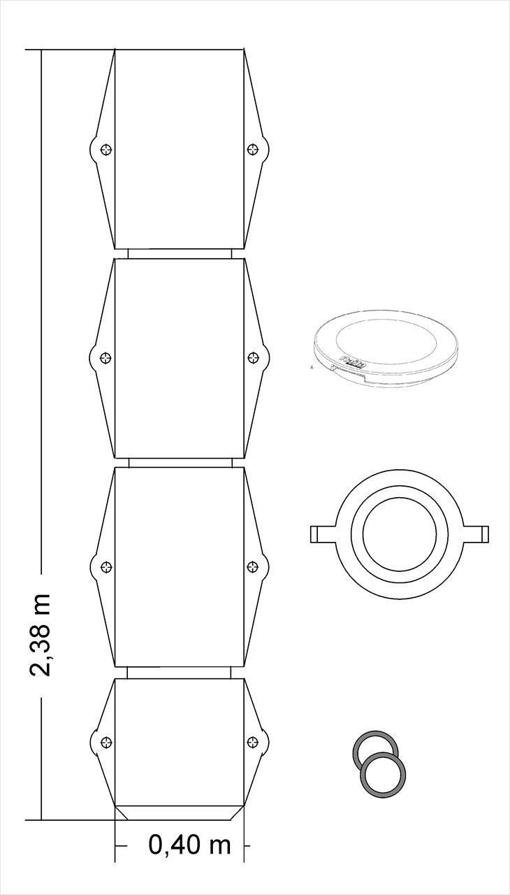 Kokoomakaivo 1/1 kork 2m, halk 0,40 m