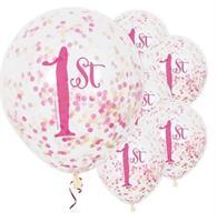 Ballonger 1 år med rosa konfetti