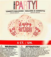 6 stk Mørk rosa Konfetti ballong med Happy Birthday tekst