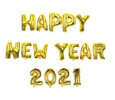 HAPPY NEW YEAR 2021 Folie Ballong - Gull farget