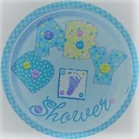 10 Stk Papptallerken - Baby Shower / blå