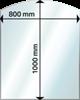 Eldstadsplan glas rak båge 800x1000mm