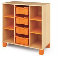 Ornö låg orange 4 hyllor och 4 mellan plastbackar