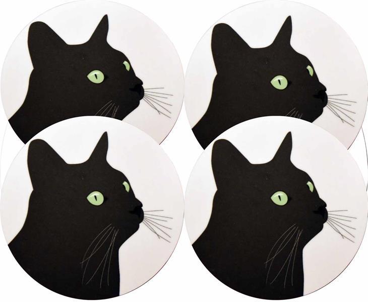 Glasunderlägg Svarta Katten 4-pack